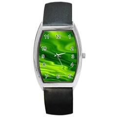 Green Tonneau Leather Watch by Siebenhuehner