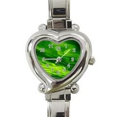 Green Heart Italian Charm Watch  by Siebenhuehner