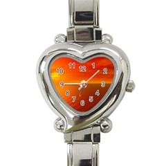 Sunset Heart Italian Charm Watch  by Siebenhuehner