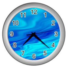 Blue Wall Clock (silver) by Siebenhuehner