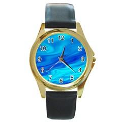 Blue Round Metal Watch (gold Rim)  by Siebenhuehner