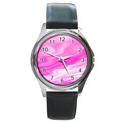 Background Round Metal Watch (silver Rim) by Siebenhuehner