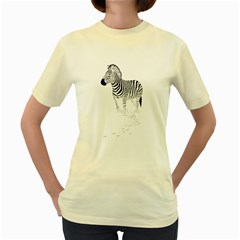 Zebra  Womens  T Shirt (yellow) by Contest1739180-236290
