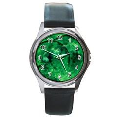 Green Bubbles Round Metal Watch (silver Rim) by Siebenhuehner