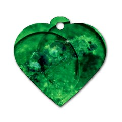 Green Bubbles Dog Tag Heart (two Sided) by Siebenhuehner