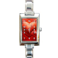 Love Rectangular Italian Charm Watch by Siebenhuehner