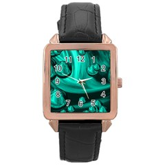 Space Rose Gold Leather Watch  by Siebenhuehner
