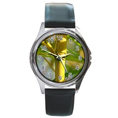 Bamboo Round Metal Watch (Silver Rim)