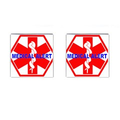 Medical Alert Health Identification Sign Cufflinks (square) by youshidesign
