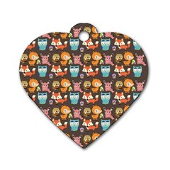 Woodland Animals Dog Tag Heart (one Sided)  by Mjdaluz