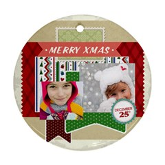 Merry Christmas By Merry Christmas   Round Ornament (two Sides)   X4kkbhldp78h   Www Artscow Com Front