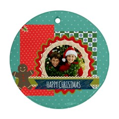 Merry Christmas By Merry Christmas   Round Ornament (two Sides)   Tb9g933z9jmk   Www Artscow Com Back