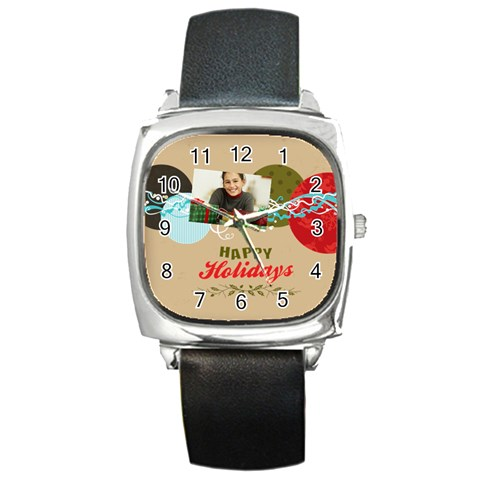 Merrry Christmas By Merry Christmas   Square Metal Watch   Xp61oncu3v3t   Www Artscow Com Front