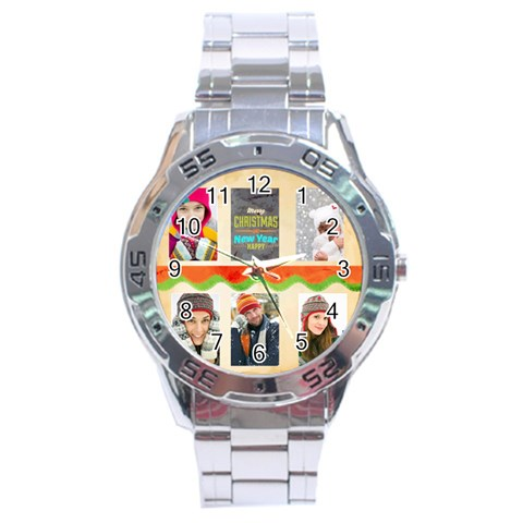 Merrry Christmas By Merry Christmas   Stainless Steel Analogue Watch   Xc66v93pezs5   Www Artscow Com Front