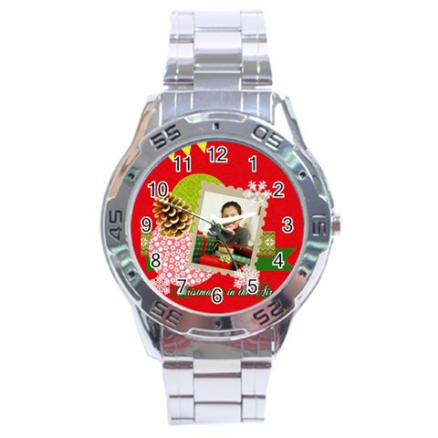 Merrry Christmas By Merry Christmas   Stainless Steel Analogue Watch   Ptwuw6ypcr6p   Www Artscow Com Front