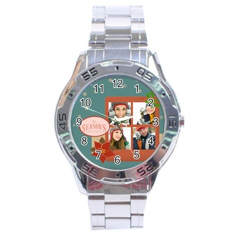 Merrry Christmas By Merry Christmas   Stainless Steel Analogue Watch   Sujiqc7hmy9k   Www Artscow Com Front