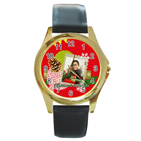Merry Christmas By Merry Christmas   Round Gold Metal Watch   Gnp2m6p7hwnh   Www Artscow Com Front