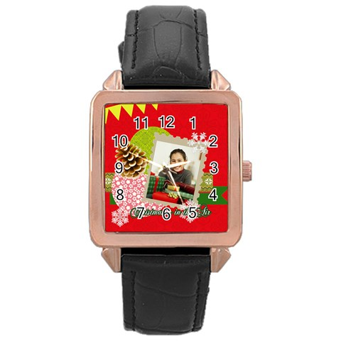 Merry Christmas By Merry Christmas   Rose Gold Leather Watch    5fqo1mfmqxmp   Www Artscow Com Front