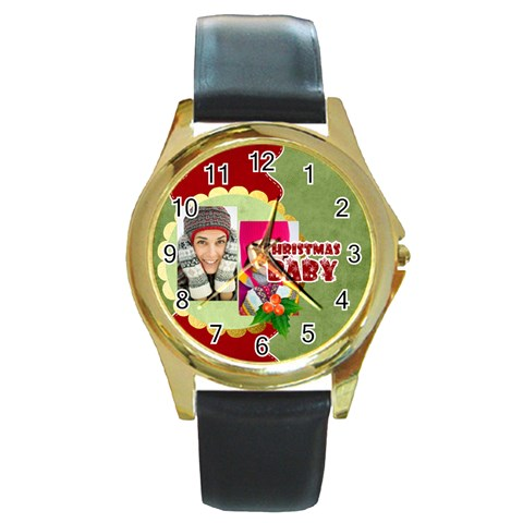 Merry Christmas By Merry Christmas   Round Gold Metal Watch   8h3ojtc7wb79   Www Artscow Com Front