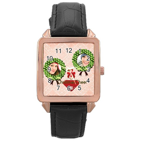 Merry Christmas By Merry Christmas   Rose Gold Leather Watch    61pea5q6kral   Www Artscow Com Front
