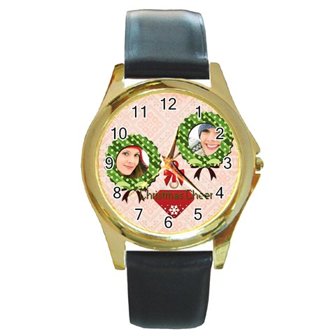 Merry Christmas By Merry Christmas   Round Gold Metal Watch   4ur7jgiyxttx   Www Artscow Com Front
