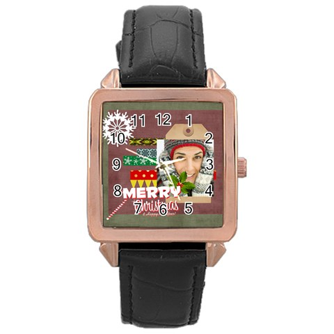 Merry Christmas By Merry Christmas   Rose Gold Leather Watch    K704v3s7wnka   Www Artscow Com Front