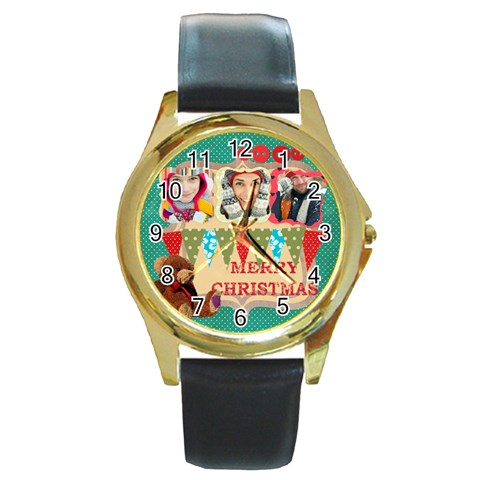 Merry Christmas By Merry Christmas   Round Gold Metal Watch   Hwiik2o63dja   Www Artscow Com Front