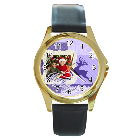 Merry Christmas By Merry Christmas   Round Gold Metal Watch   Ps82mam6l26i   Www Artscow Com Front