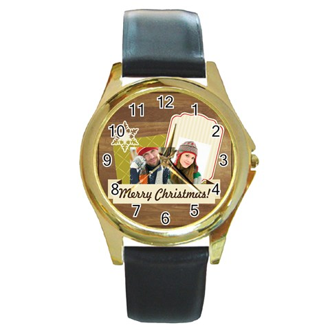 Merry Christmas By Merry Christmas   Round Gold Metal Watch   2dzns8oydyj7   Www Artscow Com Front