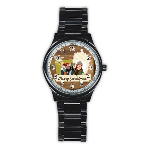 Merry Christmas By Merry Christmas   Stainless Steel Round Watch   Qm9at6ygx9ug   Www Artscow Com Front