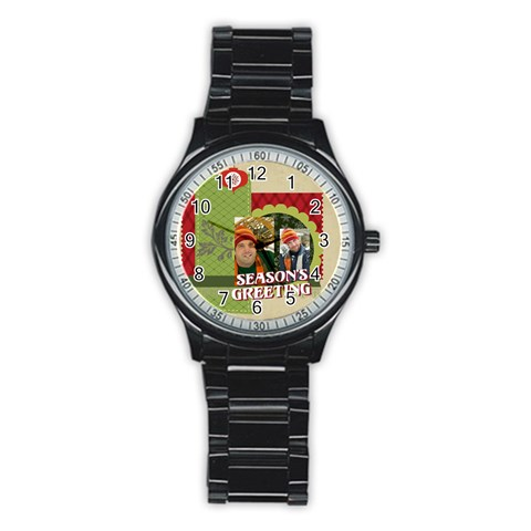 Merry Christmas By Merry Christmas   Stainless Steel Round Watch   7eyaprm7gai9   Www Artscow Com Front