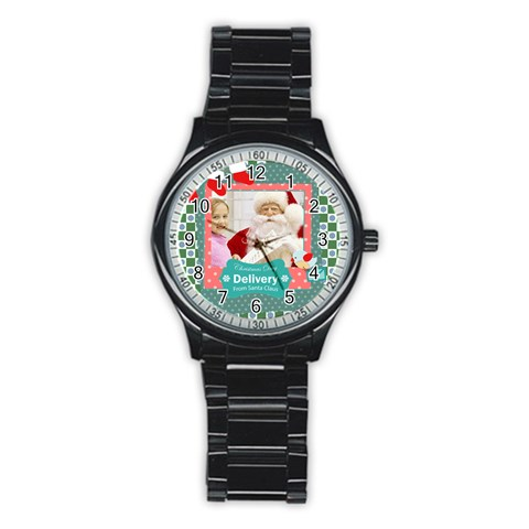 Merry Christmas By Merry Christmas   Stainless Steel Round Watch   Ov01oqzjocln   Www Artscow Com Front