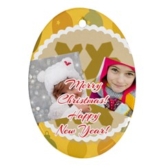 Merry Christmas By Merry Christmas   Oval Ornament (two Sides)   Od7a9vc44nbu   Www Artscow Com Front