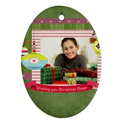 Merry Christmas By Merry Christmas   Oval Ornament (two Sides)   G8b8wekbnd2m   Www Artscow Com Front