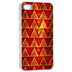 Orange Triangle Tiles Apple Iphone 4/4s Seamless Case (white) by Contest1775858