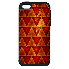 Orange Triangle Tiles Apple Iphone 5 Hardshell Case (pc+silicone) by Contest1775858