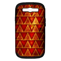 Orange Triangle Tiles Samsung Galaxy S Iii Hardshell Case (pc+silicone) by Contest1775858