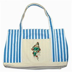 Muscle Cat Blue Striped Tote Bag by Randyotter
