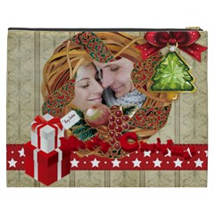 Merry Christmas By Debe Lee   Cosmetic Bag (xxxl)   Y3dyv8t7h3yt   Www Artscow Com Back