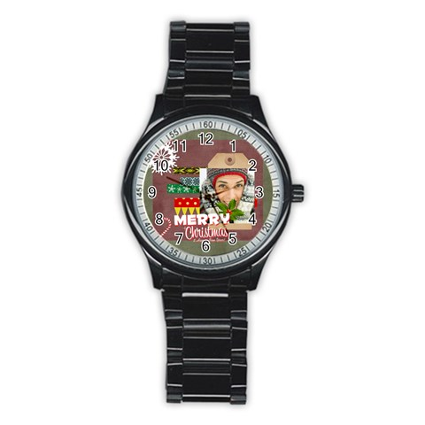 Merry Christmas By Merry Christmas   Stainless Steel Round Watch   Mzeqjndayoik   Www Artscow Com Front