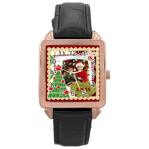 Merry Christmas By Merry Christmas   Rose Gold Leather Watch    28urttrqctiq   Www Artscow Com Front
