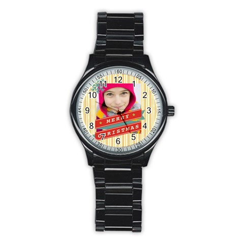 Merrry Christmas By Merry Christmas   Stainless Steel Round Watch   0ga50w9z1uas   Www Artscow Com Front