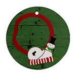 Sliding snowman 2 sides ornament - Round Ornament (Two Sides)