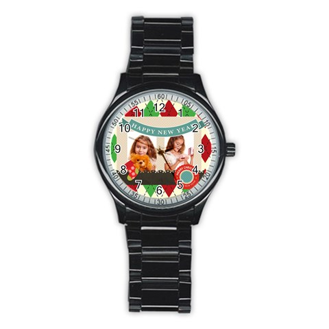 Xmas By Joely   Stainless Steel Round Watch   Ilp6v2ym9quw   Www Artscow Com Front