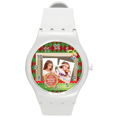 Xmas By Joely   Round Plastic Sport Watch (m)   G22wiag2qutk   Www Artscow Com Front