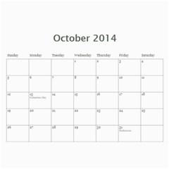 Calendar 2014 By Bertie   Wall Calendar 11  X 8 5  (12 Months)   07afhmh2r8b4   Www Artscow Com Oct 2014