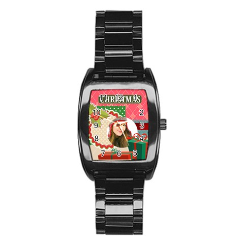 Merry Christmas By Merry Christmas   Stainless Steel Barrel Watch   3yzhjkqr7cy0   Www Artscow Com Front