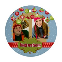 Merry Christmas By Merry Christmas   Round Ornament (two Sides)   D903z44lp6i7   Www Artscow Com Front