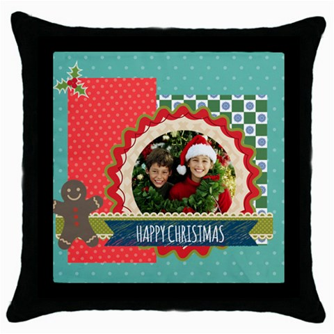 Merry Christmas By Merry Christmas   Throw Pillow Case (black)   1xxvi3j3ahv9   Www Artscow Com Front