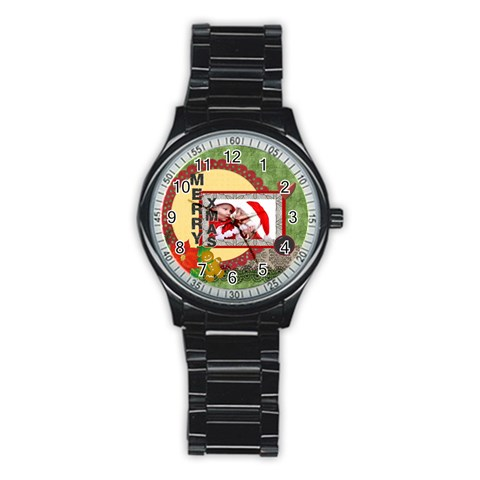 Merry Christmas By Debe Lee   Stainless Steel Round Watch   Iuyziz8yyv6v   Www Artscow Com Front